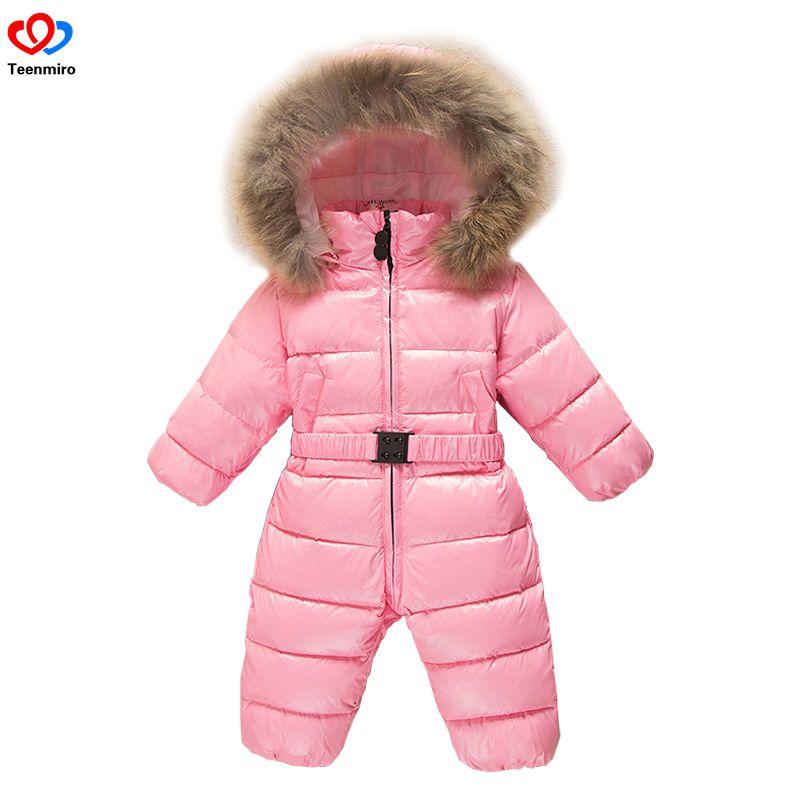 2018 детский зимний комбинезон для новорожденных Зимний детские толстые вниз Шуба новорожденных зимняя одежда комбинезоны для мальчиков пар...