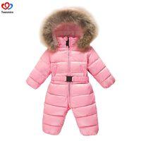 2018 Children's Winter Jumpsuit Infant Snowsuit Baby Thick Down Fur Coat Newborn Snow Wear Rompers for Boy Girl Parka Costumes