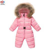 2019 Children's Winter Jumpsuit Infant Snowsuit Baby Thick Down Fur Coat Newborn Snow Wear Rompers for Boy Girl Parka Costumes