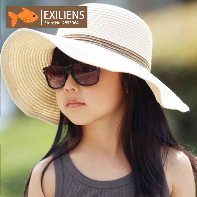 [EXILIENS] 2017 New Fashion Summer Brand Children's Sun Hats Girl Cap Beach Straw Pendant Top Kid Big Brim Shade Sunscreen Girls