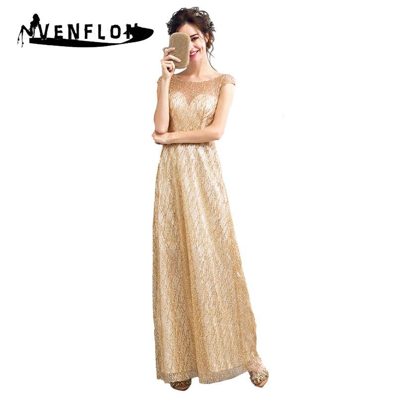 VENFLON D'été 2019 robe pour femme De Luxe Sexy Creusent dehors robe de Bal Sequin Robe Élégante Dos Nu Demoiselle D'honneur Longue tenue de fête Or