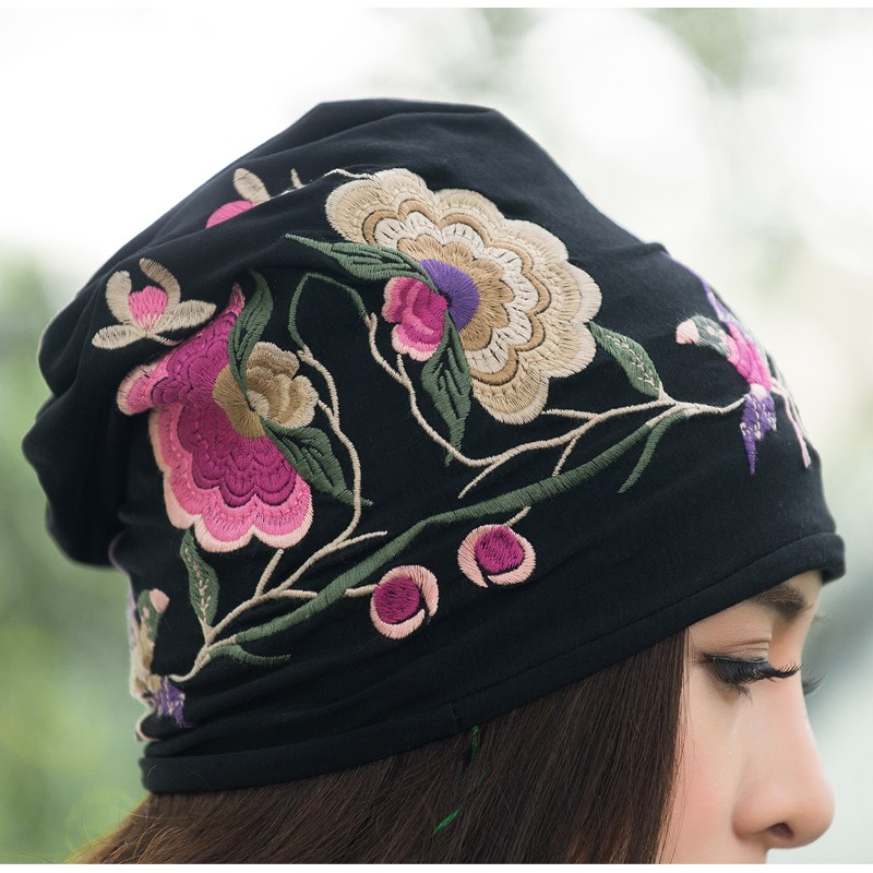 Cheshanf Cheap-clothes-china Women Autumn Winter Mexican sSyle Vintage Hippie Black Blue Flowers Embroidery Hat Skullies Beanies