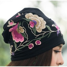Cheshanf Cheap-clothes-china Women Autumn Winter Mexican sSyle Vintage Hippie Black Blue Flowers Emb