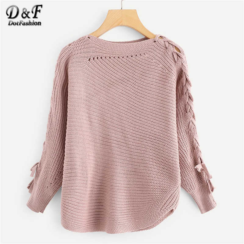 Dotfashion Pink Lace Up Solid Womens Sweaters 2019 Autumn Clothes Women Casual Spring Plain Clothing Long Sleeve Pullover Jumper