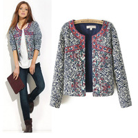 Autumn Winter Women Jacket Brand Vintage Retro Print Embroidery Cotton Coats Slim Thick Padded Lady