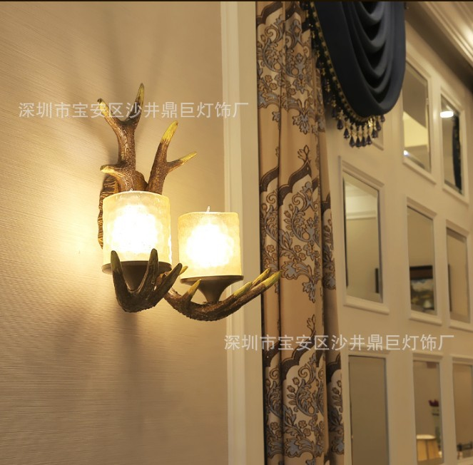 TUDA 34X43cm Free Shipping American Country Style Wall Lamp Antique Antler Resin Wall Lamp Cafe Shop Living Room Decor Wall Lamp