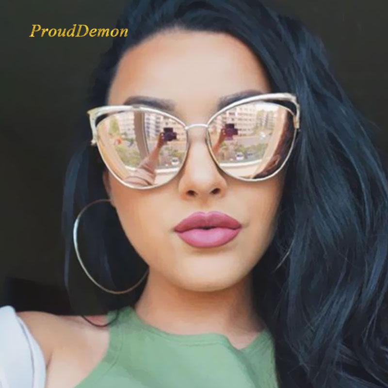 New Fashion Cat Eye Luxury 2018 Solglasögon Kvinnor Brand Designer Twin-Beam Mirror Män Sun Glasses Vintage Female Oculos de sol