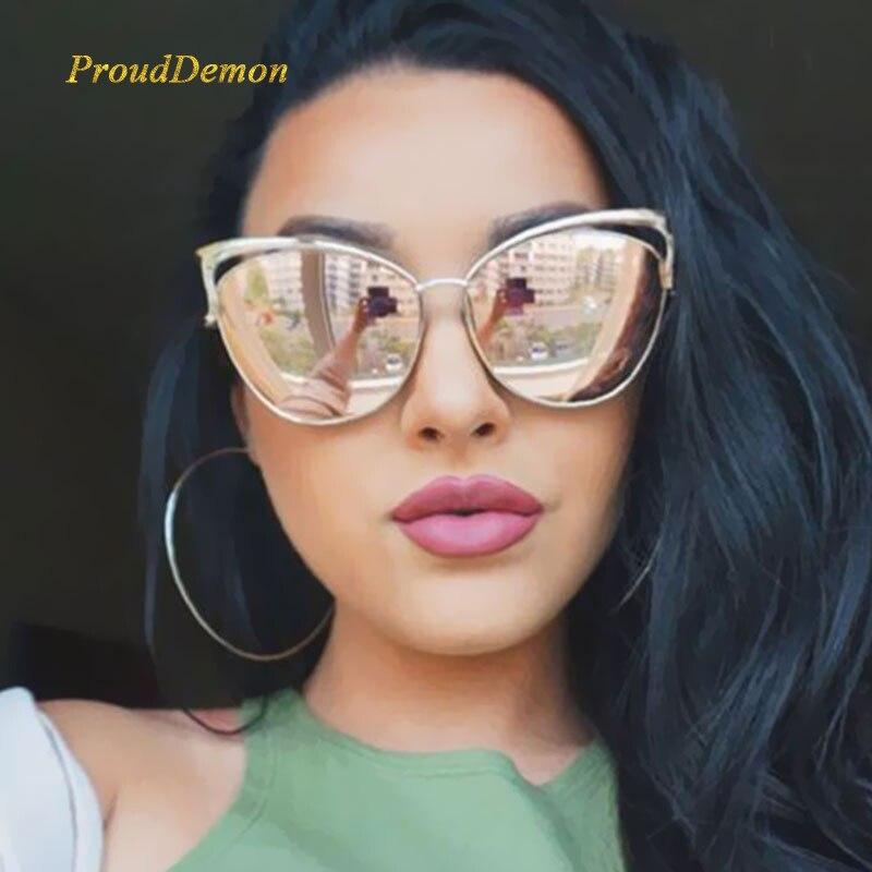 a1d1a526ab Nuevo ojo de gato Gafas de sol mujeres marca diseñador manera de cateye del  espejo del