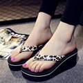 2017 New Summer Top Quality Ladies Summer Shoes Leopard Beach Shoes Wedges Platform Durable Flip Flops Thick High Heel Sandals