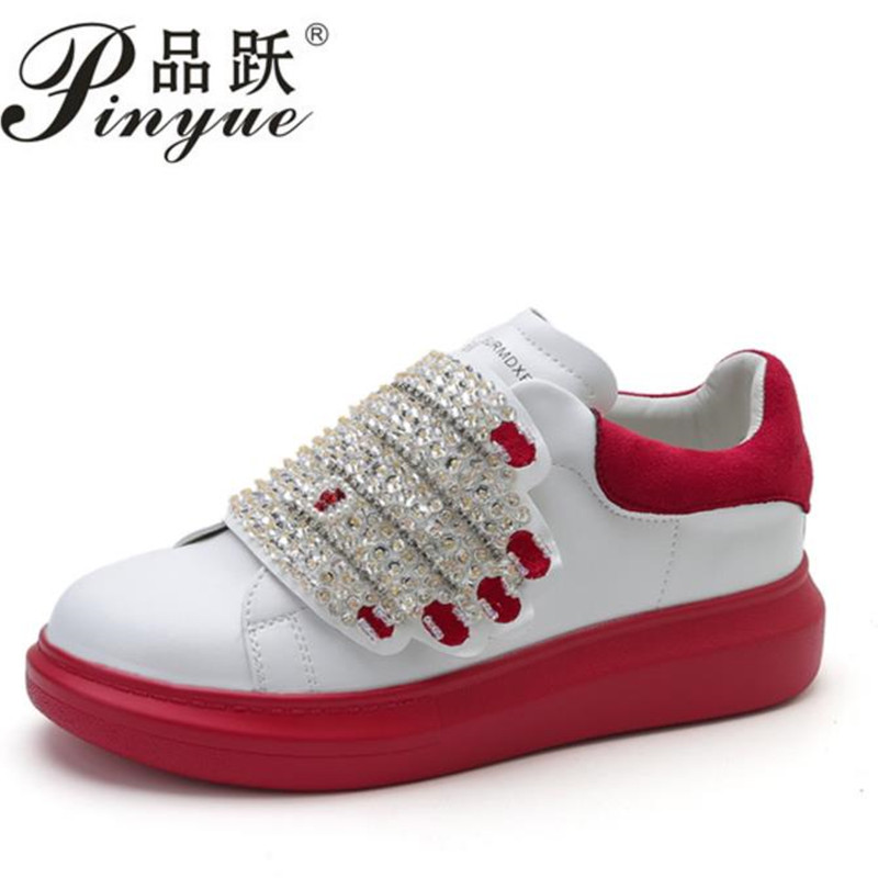 Platform Shoes Women Sneakers 2019 Spring Hook Loop Female Shoes Thick Crystal Hand White Shoes Chaussure Femme Size 34--40Platform Shoes Women Sneakers 2019 Spring Hook Loop Female Shoes Thick Crystal Hand White Shoes Chaussure Femme Size 34--40