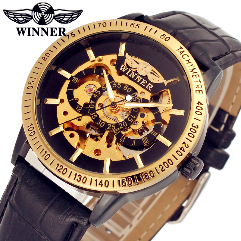 Fashion WINNER Men Luxury Brand Gold Skeleton Leather Band Watch Automatic Mechanical Wristwatches Gift Box Relogio Releges 2016 fashion winner men luxury brand date leather band casual watch automatic mechanical wristwatches gift box relogio releges 2016