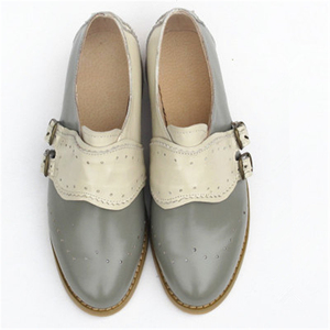 "Image 5 - פרה עור גדול אישה ארה""ב גודל 9 מעצב בציר שטוח נעלי בוהן עגול בעבודת יד שחור לבן אוקספורד נעליים לנשים 2020 אביב"