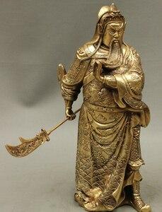 "584++15"" Folk Chinese Brass Wealth Dragon Broadsword Warrior GuanYu GuanGong Statue|Statues & Sculptures|Home & Garden -"