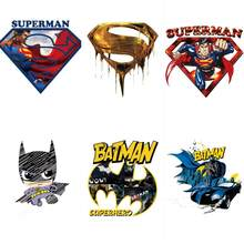 1Pcs Batman Superman logo patch di ferro sul trasferimento di calore termico patch per abbigliamento applique FAI DA TE distintivo super hero comic avengers(China)