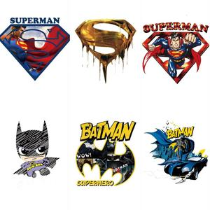 1Pcs Batman Superman logo iron patch on heat transfer thermal patches for clothing applique DIY badge super hero comic avengers(China)
