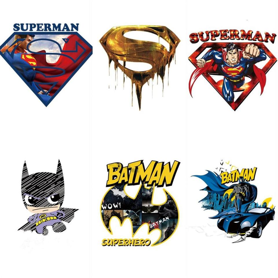 1pcs Batman Superman Logo Iron Patch On Heat Transfer Thermal Patches For Clothing Applique Diy Badge Super Hero Comic Avengers Patches Aliexpress