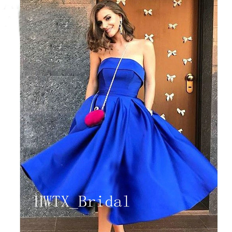 Royal Blue Short Prom Dresses 2019 Cheap Strapless A Line Satin Keen Length Homecoming Party Dress With Pockets Formal Gowns