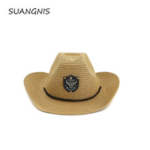 Classical Western Cowboy Hat Sun Hat For Men Women Summer Straw Hats Alloy Feather Beads Cowgirl Cap Wide Brim Sun Caps(China)