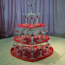 Свадебные Пирамида бокалов для шампанского, три яруса в форме сердца красный Этажерка, праздничные вечерние принадлежности