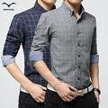 Brand Men Clothes New 2016 Spring Autumn Fashion Slim Fit Men Long Sleeve Shirt solid color lattice Cotton Casual Men Shirt DP