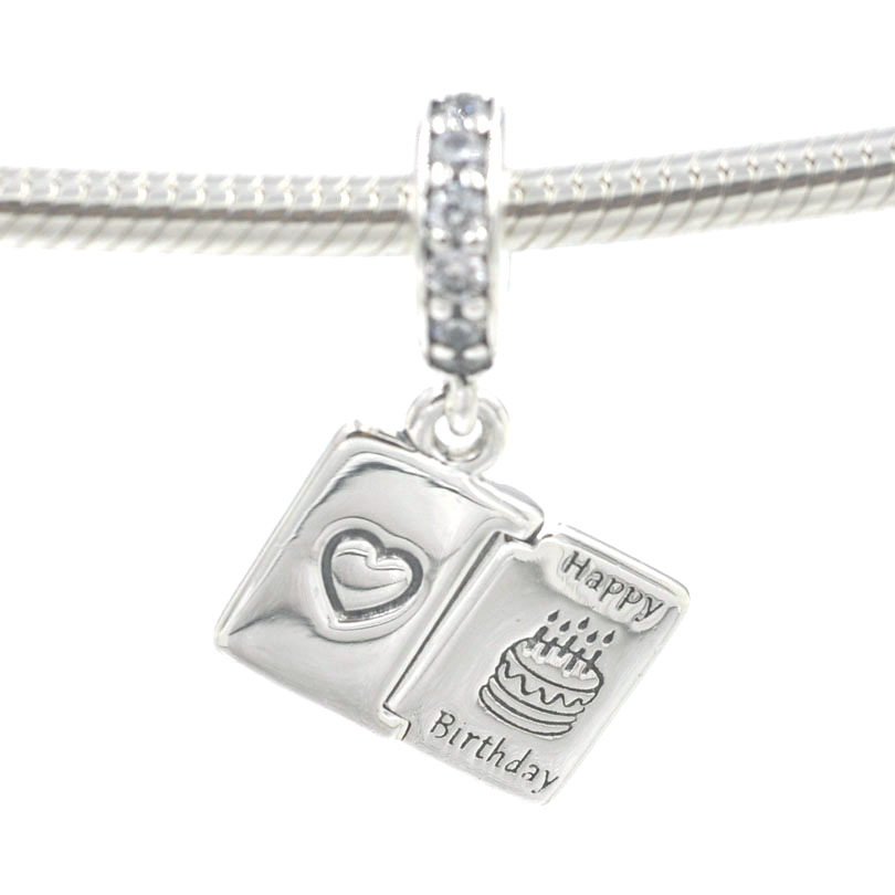 Authentic 925 Sterling Silver Charms Happy Birthday Wish Charm Beads