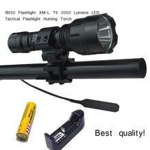 Alta qualidade lanterna c8 xml t6 led lanterna 2000 lumens lanterna led t6 caça luz da tocha flash light + 18650 + arma de montagem