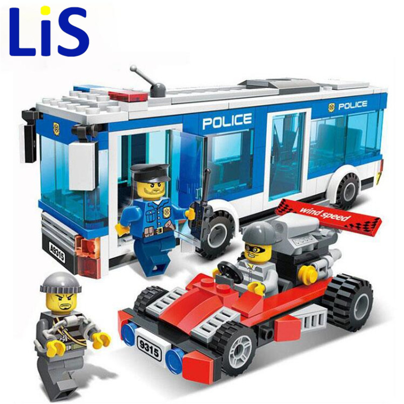 (Lis)256Pcs Police Station Building Blocks Bricks Educational Toys Birthday Gift Toy For boy Compatible with city 890pcs city police station building bricks blocks emma mia figure enlighten toy for children girls boys gift