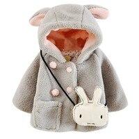 الأطفال الصغار حلوة الطفلات الخريف الشتاء لطيف الأرنب الأذن مقنع سميكة الدافئة حزب سنو ملابس خارجية معطف