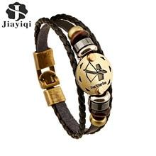 Jiayiqi Fashion Charm Jewelry Bronze Alloy 12 Zodiac Leather Bracelet Punk Wooden Beads For Women & Men Multilayer Easy Buckles