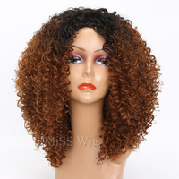 MISS WIG Black Mixed Brown Kinky Curly Wigs For Black Women Afro Wig Synthetic Hair African