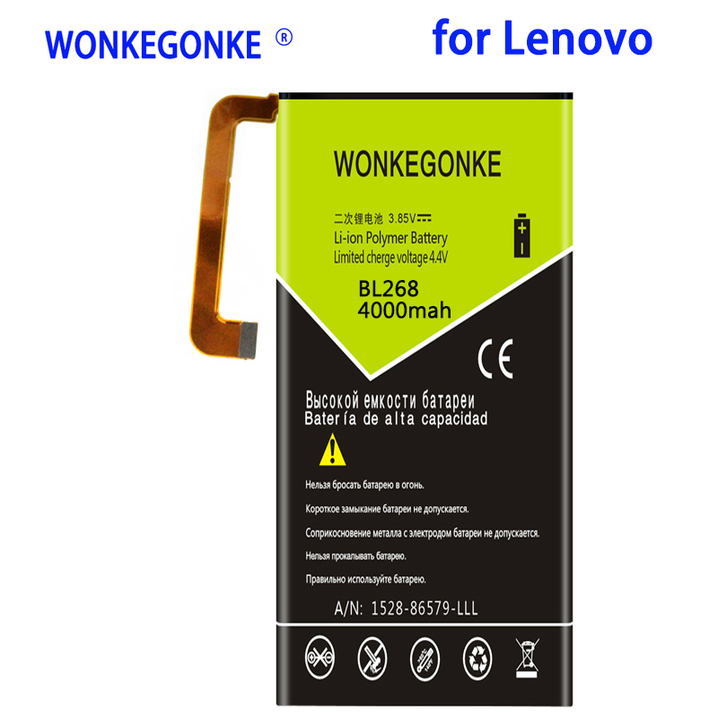 WONKEGONKE 4000mah BL268 Battery for Lenovo Zuk Z2 Z2131 Batteries Bateria image