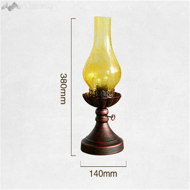 LFH Vintage Creative European Yellow Crackle Glass Table Lamps  Old Fashioned Kerosene Lights Design Iron