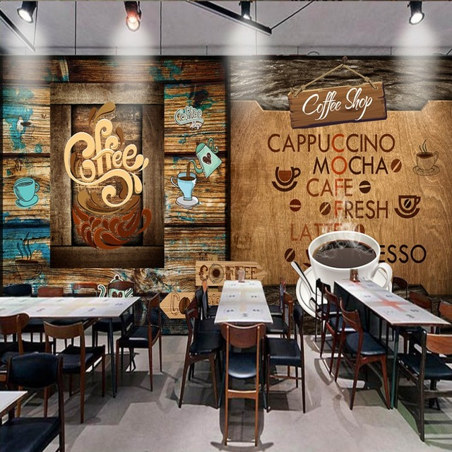 Foto wallpaper Retro Kayu Cafe Latar Belakang dekorasi