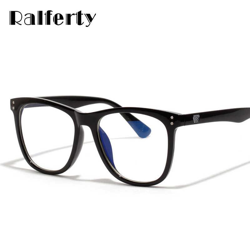 bef7c2e384 Ralferty Anti Blue Light Computer Glasses Vintage Eyeglass Woman Frame  Oversize Sqaure Black Men Optic Eyewear
