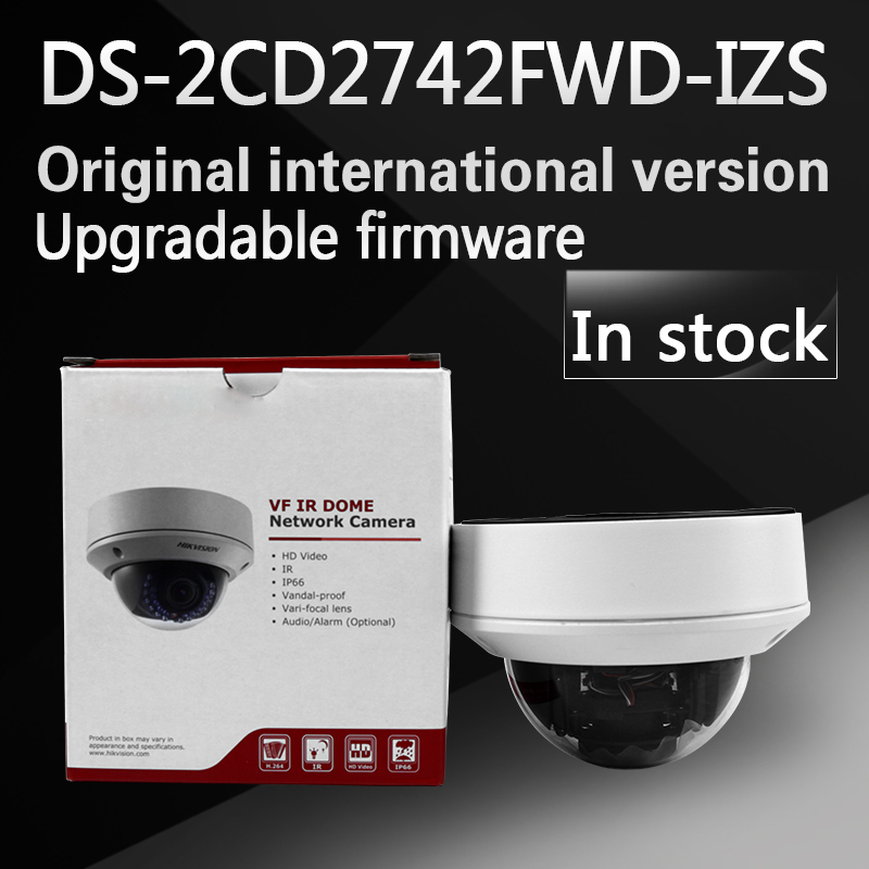 In stock Free shipping english version DS-2CD2742FWD-IZS Audio, POE 4MP WDR Vari-focal Motorized Lens Dome Network IP Camera free shipping in stock new arrival english version ds 2cd2142fwd iws 4mp wdr fixed dome with wifi network camera