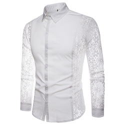Mens Flower Patchwork Embroidery Lace Shirt 2019 Fashion Transparent Sexy Dress Shirts Mens See Trough Club Party Event Chemise 3