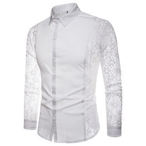 Image 3 - Mens Flower Patchwork Embroidery Lace Shirt 2019 Fashion Transparent Sexy Dress Shirts Mens See Trough Club Party Event Chemise