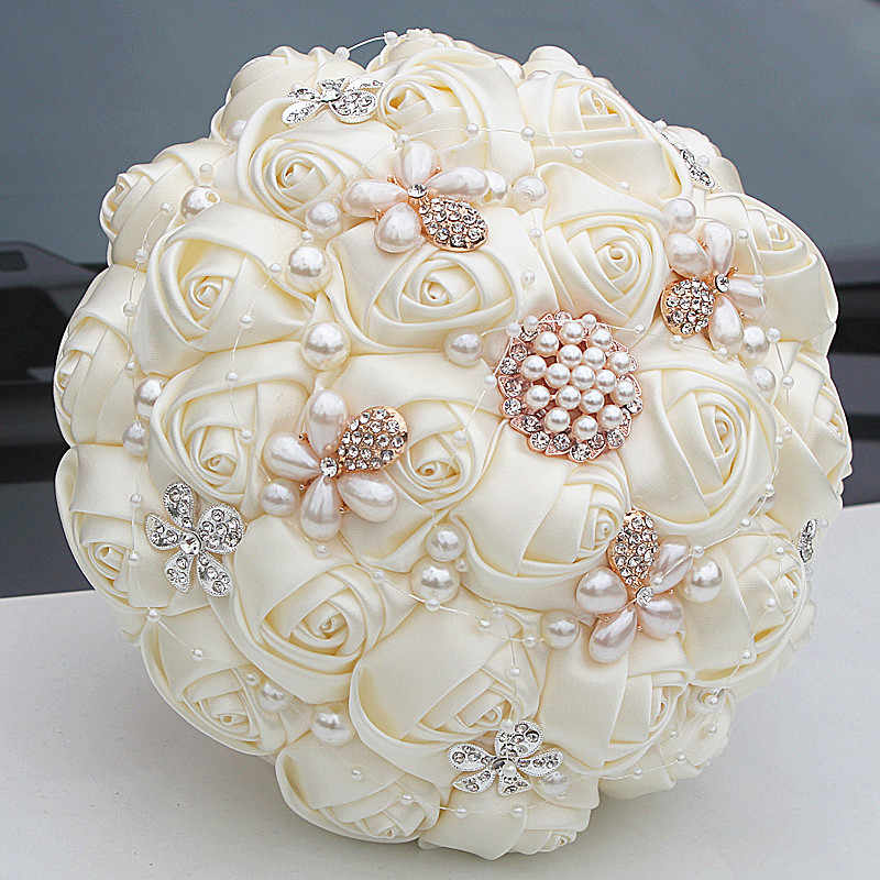 Missrdress Gorgeous Bruidsboeket Pearl Wedding Bouquet Ivory