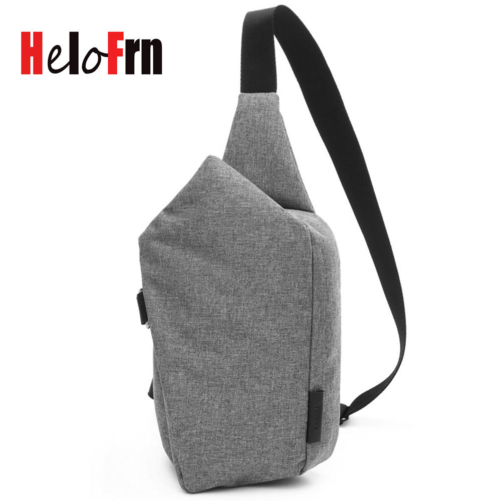 HeloFrn Casual Men Crossbody Chest Bags Waterproof Solid Small Travel Messenger Pack Women Bag