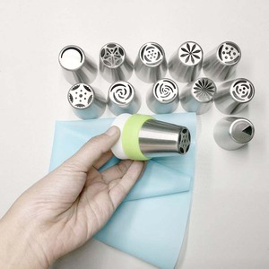 Image 2 - 14pc/Set Russian Tulip Icing Piping Nozzles Stainless Steel Flower Cream Pastry Tips Nozzles Bag Cupcake Cake Decorating Tools
