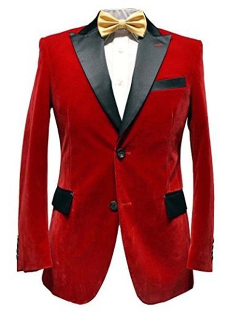 Men's Red Velvet Tuxedo Jacket Elegant Wedding Groom Designer Party Wear Blazers Black Lapel Only Jacket-in Suits from Men's Clothing    1