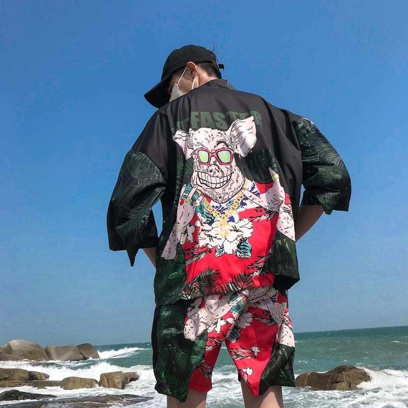 おかしい豚プリント着物ジャケットメンズ夏ヒップホップ薄型ルース着物カーディガン3/4スリーブハワイビーチウェア男性生き抜く