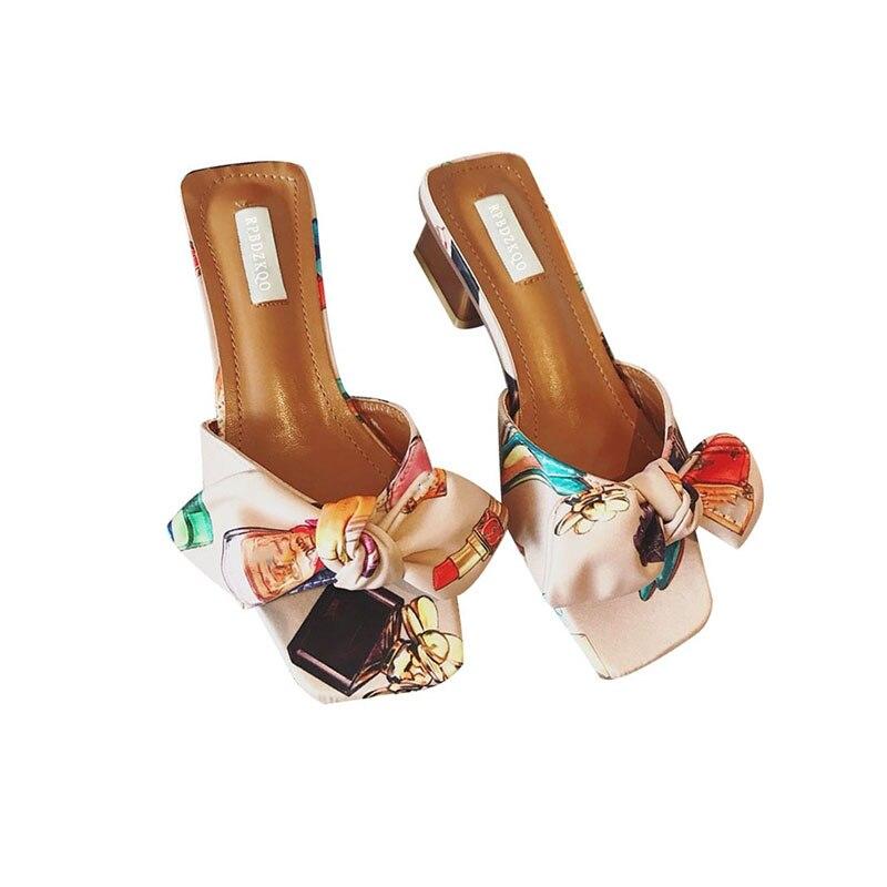 2d5e72740f30 ... Heels Bow Cute Pink Pumps Slides Floral Sandals Print Open Toe Bowtie  Slippers Chunky Purple Women