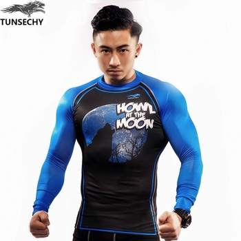 TUNSECHY brand compression tight t-shirts male group ride the T-shirt with long sleeves moisture absorbent quick dry T-shirt