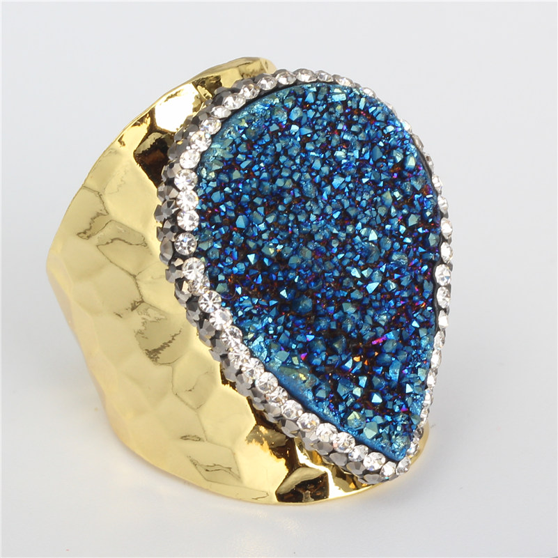Semi Precious Gemstone Raw Stone : Luxury jewelry waterdrop tear dark blue rough raw druzy