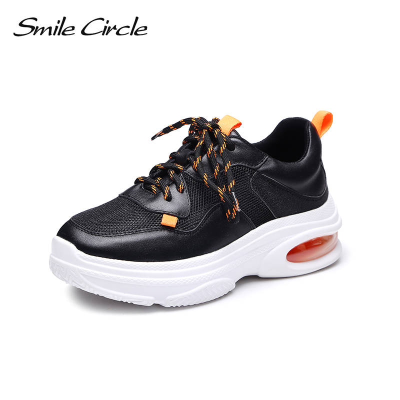 Smile Circle Genuine Leather Sneakers Women Lace-up Flat Shoes Women Comfortable air cushion Sneakers 2018 casual shoes smile circle genuine leather sneakers women lace up flat shoes women comfortable air cushion sneakers 2018 casual shoes