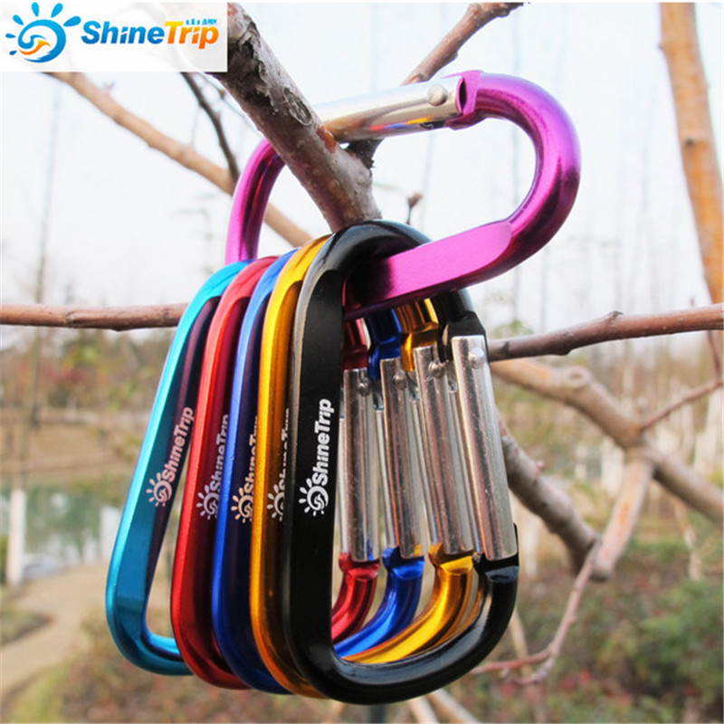 100 pcs ShineTrip D Shape Aluminum Alloy Buckle Backpack Hanging Hook Carabiners Outdoor Equipment Hiking EDC Tool