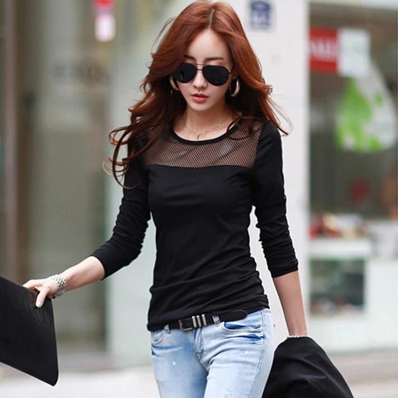 c66101a739a8 Women Autumn Cotton Lace Mesh patchwork long sleeve T Shirts Black ...
