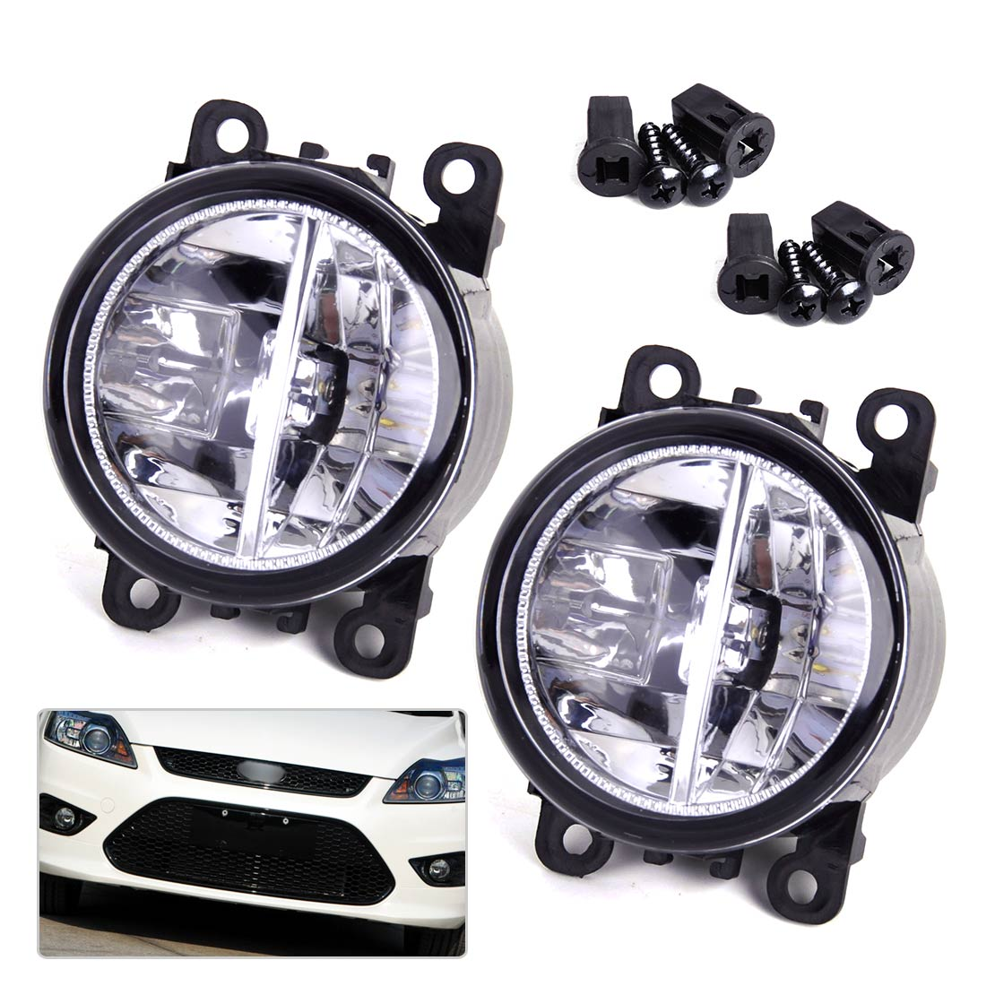 DWCX 2x Right Left LED Fog Light Lamp AC2592111 4F9Z15200AA 33900STKA11 for Ford Focus Honda Acura Lincoln Nissan Subaru Suzuki dwcx fog light lamp female adapter wiring harness sockets wire connector for ford focus acura nissan honda cr v infiniti subaru