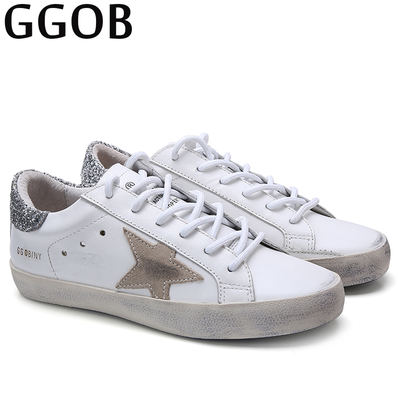 GGOB 2018 Autumn Brand Flats Shoes Women Casual Genuine Leather Korean Shoes Woman Designer White Shoes Women Sneakers Unisex asumer white spring autumn women shoes round toe ladies genuine leather flats shoes casual sneakers single shoes